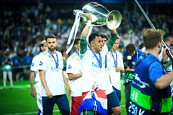 Keylor Navas of Real Madrid celebrates after they won 3-1 during the UEFA Champions League final football match between Liverpool and Real Madrid and became Champions League  2018 Champions third time in a row at the Olympic Stadium in Kiev, Ukraine on May 26, 2018.Photo by Sandi Fiser / Sportida