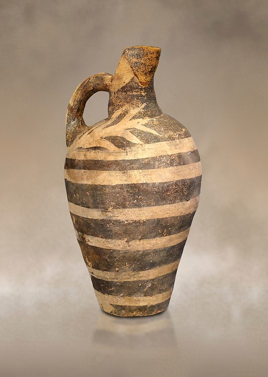 Minoan decorated Kamares  style jug with comncentric ring pattern, Poros cemetery 1800-1650 BC; Heraklion Archaeological  Museum. .<br /> <br /> If you prefer to buy from our ALAMY PHOTO LIBRARY  Collection visit : https://www.alamy.com/portfolio/paul-williams-funkystock/minoan-art-artefacts.html . Type -   Heraklion   - into the LOWER SEARCH WITHIN GALLERY box. Refine search by adding background colour, place, museum etc<br /> <br /> Visit our MINOAN ART PHOTO COLLECTIONS for more photos to download  as wall art prints https://funkystock.photoshelter.com/gallery-collection/Ancient-Minoans-Art-Artefacts-Antiquities-Historic-Places-Pictures-Images-of/C0000ricT2SU_M9w