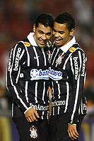 20090701: PORTO ALEGRE, BRAZIL - Internacional vs Corinthians: Brazilian Cup 2009 - Final - 2nd Leg. In picture: Andre Santos and Dentinho (Corinthians) celebrating goal. PHOTO: CITYFILES