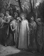 Judas betraying Christ with a kiss. Matthew 26.9. Illustration by Gustave Dore (1832-1883) French painter and illustrator fro 'The Bible' (London 1866). Wood engraving.