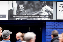 Everton fans walk past a Wayne Rooney plaque on the wall of Goodison Park - Mandatory by-line: Matt McNulty/JMP - 06/08/2017 - FOOTBALL - Goodison Park - Liverpool, England - Everton v Sevilla - Pre-season friendly