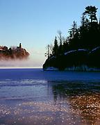 Winter view across Little Two Harbors of Lake Superior to Split Rock Lighthouse, Split Rock Lighthouse State Park, Minnesota.