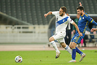 ATHENS, GREECE - OCTOBER 14: Kostas Fortounisof Greece and Anel Rashkajof Kosovo during the UEFA Nations League group stage match between Greece and Kosovo at OACA Spyros Louis on October 14, 2020 in Athens, Greece. (Photo by MB Media)