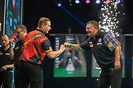 Dimitri Van den Bergh (Belgium) beats Gary Anderson (Scotland) during the Betway Premier League Darts Night Eight at Marshall Arena, Milton Keynes, United Kingdom on 21 April 2021