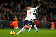 Son Heung-min of Tottenham Hotspur scores his team's first goal. Premier league match, Tottenham Hotspur v West Ham United at Wembley Stadium in London on Thursday  4th January 2018.<br /> pic by Steffan Bowen, Andrew Orchard sports photography.