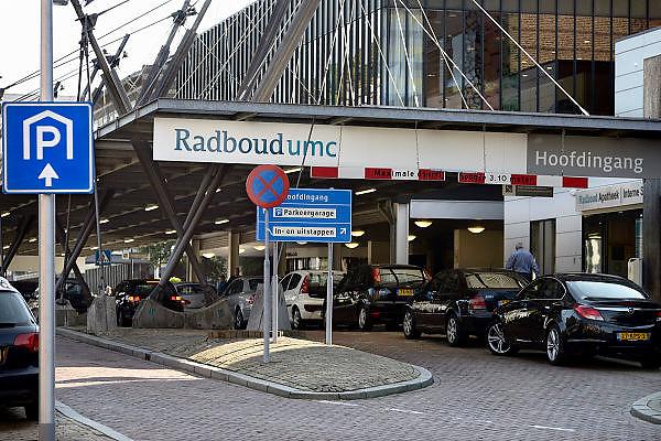 Nederland, Nijmegen, 1-10-2014 Ingang, hoofdingang, gebouw radboudumc, umc radboud, umcn, academisch, universitair ziekenhuis. Foto: Flip Franssen/Hollandse Hoogte
