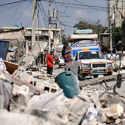 After the terrible earthquake that shock the island of Haïti a collective taxi is running in a street - Haïti, Port au Prince - Jannuary 18th 2010.