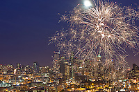 Fireworks over Seattle, Washington on the 4th of July