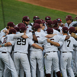 Jun 24, 2013; Omaha, NE, USA; Mississippi State Bulldogs players huddle before game 1 of the College World Series finals against the UCLA Bruins at TD Ameritrade Park. Mandatory Credit: Derick E. Hingle-USA TODAY Sports