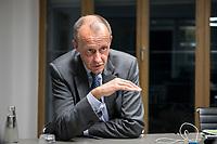 08 NOV 2018, BERLIN/GERMANY:<br /> Friedrich Merz, CDU, Rechtsanwalt, Manager und Kandidat fuer das Amt des Bundesvorsitzenden der CDU, waehrend einem Interview, Pariser Platz 6a<br /> IMAGE: 20181108-03-020