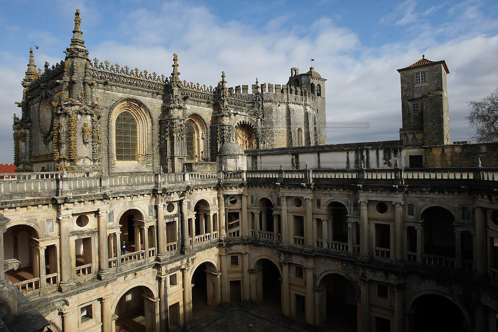 The Main Cloister and the main body of the church in the Convent of Jesus Christ at Tomar in the Center of Portugal. Started to be built in the 12 th Century by the Poor Knights of Jesus Christ (the Templars), with strong influence from Jerusalem's religious buildings from the time of Crusades, as the Temple of the Rock.Paulo Cunha/4see