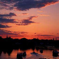 Portsmouth Harbor. Boats. Sunset. New England Scenics.  June.  Portsmouth, NH