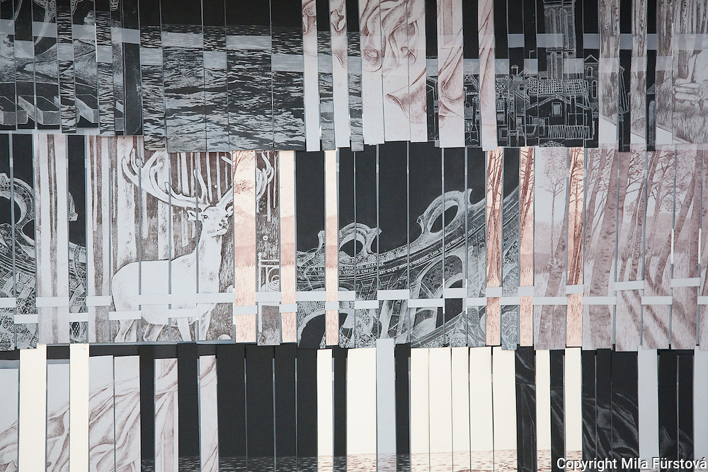 Mila Fürstová:  Shelter of Memories.Interwoven Fragments of Etching & Mixed Media. 1.5 x1.5.x 2m, 2010  .The Royal West of England Academy, Bristol, England