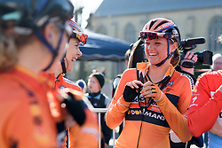 Defending champion, Chantal Blaak shares a joke with her teammates at Women's Gent Wevelgem 2017. A 145 km road race on March 26th 2017, from Boezinge to Wevelgem, Belgium. (Photo by Sean Robinson/Velofocus)