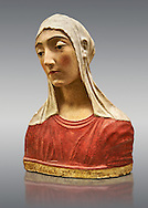 Painted stucco bust of a female possibly the Virgin of the Annonciation or Saint Catherine of Sienna. made in Florence around 1429- 1484 from Papiano, Palagio Fiorentino.  Inv  The Louvre Museum, Paris. .<br /> <br /> If you prefer you can also buy from our ALAMY PHOTO LIBRARY  Collection visit : https://www.alamy.com/portfolio/paul-williams-funkystock/gothic-art-antiquities.html  Type -   louvre     - into the LOWER SEARCH WITHIN GALLERY box. Refine search by adding background colour, place, museum etc<br /> <br /> Visit our MEDIEVAL ART PHOTO COLLECTIONS for more   photos  to download or buy as prints https://funkystock.photoshelter.com/gallery-collection/Medieval-Gothic-Art-Antiquities-Historic-Sites-Pictures-Images-of/C0000gZ8POl_DCqE