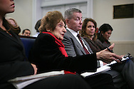 Helen Thomas, asks a question at the press briefing as she returns to the White House after an illness.  Photograph by Dennis Brack