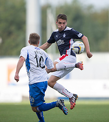 Queen of the South's Gavin Reilly and Falkirk's Luke Leahy.<br /> Falkirk 1 v 1 Queen of the South, Scottish Championship game played today at The Falkirk Stadium.