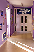 The corridor and entrance to the offender management suite. HMP/YOI Askham Grange is a women's open prison serving the Yorkshire area with a capacity of 128 women. It has extensive education, training and mother and Baby facilities.