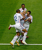 Photo: Glyn Thomas.<br />Italy v France. FIFA World Cup 2006 Final. 09/07/2006.<br /> France's Zinedine Zidane (C) celebrates his early penalty.