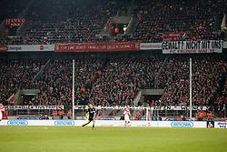 "21.02.2015, RheinEnergieStadion, Köln, GER, 1. FBL, 1. FC Köln vs Hannover 96, 22. Runde, im Bild Koelner Fankurve ohne Banner von Ultras<br /> <br /> <br /> <br /> ""Gewalt, nicht mit uns"", ""Gegen Kollektivstrafen"" Werner S // during the German Bundesliga 22nd round match between 1. FC Cologne and Hannover 96 at the RheinEnergieStadion in Köln, Germany on 2015/02/21. EXPA Pictures © 2015, PhotoCredit: EXPA/ Eibner-Pressefoto/ Schueler<br /> <br /> *****ATTENTION - OUT of GER*****"