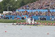 Eton Dorney, Windsor, Great Britain,..2012 London Olympic Regatta, Dorney Lake. Eton Rowing Centre, Berkshire[ Rowing]...Description;  Men's Eights Final...GBR.M8+ Alex PARTRIDGE (b) , James FOAD (2) , Tom RANSLEY (3) , Richard EGINGTON (4) , Mohamed SBIHI (5) , Greg SEARLE (6) , Matt LANGRIDGE (7) , Constantine LOULOUDIS (s) , Phelan HILL (c).USA.M8+ David BANKS (b) , Grant JAMES (2) , Ross JAMES (3) , William MILLER (4) , Giuseppe LANZONE (5) , Stephen KASPRZYK (6) , Jacob CORNELIUS (7) , Brett NEWLIN (s) , Zachary VLAHOS (c).NED.M8+. Sjoerd HAMBURGER (b) , Diederik SIMON (2) , Rogier BLINK (3) , Matthijs VELLENGA (4) , Roel BRAAS (5) , Jozef KLAASSEN (6) , Olivier SIEGELAAR (7) , Mitchel STEENMAN (s) , Peter WIERSUM (c)Dorney Lake. ..12:35:19  Wednesday  01/08/2012..[Mandatory Credit: Peter Spurrier/Intersport Images].
