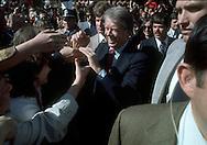 9/1/1976.Jimmy Carter shaking hands in Williamsburg, VA..Photo by Dennis Brack