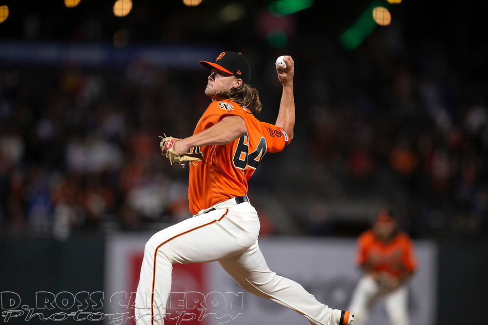 Sep 27, 2019; San Francisco, CA, USA; San Francisco Giants pitcher Shaun Anderson (64) delivers against the Los Angeles Dodgers during the eighth inning of a baseball game at Oracle Park. Mandatory Credit: D. Ross Cameron-USA TODAY Sports