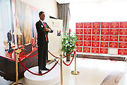 XUCHANG, CHINA - APRIL 7: (CHINA OUT)<br /> <br /> Celebrities Wax Figures Show In Sales Center For Promotion<br /> <br />  A wax figure of U.S. President Barack Obama stands in a sales center on April 7, 2014, in Xuchang, Henan Province of China. A real estate company in Xuchang shows some wax figures of celebrities for sales promotion. <br /> ©Exclusivepix