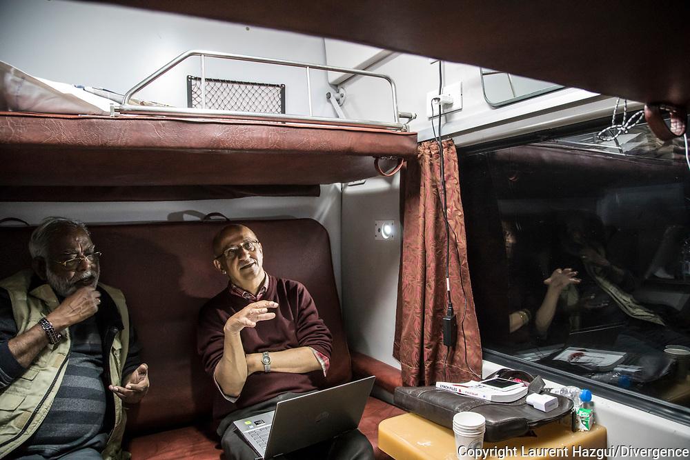 24022019. INDE. Train New Delhi - Patna. La caravane de la paix Karwan-e-Mohabbat. Harsh Minder, à l'origine de Karwan-e-Mohabbat (la caravane de l'amour), leader du collectif.