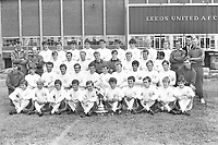 Football - 1969 / 1970 season - Leeds United photocall<br /> <br /> Full Squad team group at Elland Road.<br /> <br /> Back Row (left to right): Don Revie (manager), Robert 'Bob' English (physio), Keith Edwards, James 'Shaun' O'Neill, Chris Galvin, David Kennedy, Norman Hunter, Rod Belfit, Eddie Gray, Terry Yorath, B. Mundell, Cyril Partridge (trainer), Maurice Lindley (assistant manager), Syd Owen (coach).<br /> <br /> Third Row: Allan Clarke, Mike O'Grady, Jackie Charlton, Garry Sprake, David Harvey, Mick Jones, Paul Madeley, Albert Johannson.<br /> <br /> Second Row: Les Cocker (trainer), David Walls, Paul Reaney, Nigel Davey, Terry Cooper, Terry Hibbitt, Johnny Giles, Billy Bremner, Mick Bates, Jimmy Lumsden, Paul Peterson, Derek Edmonds.<br /> <br /> Front: Colin Smith, Robert Malt, Robert Danskin, S. Brown, Sean Grace, Jimmy Mann, Robert 'Bobby' Rutherford, Brian Stuart, P. Thrussell, Peter Hearnshaw.