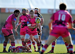 Rob Lewis of London Welsh passes the ball back - Photo mandatory by-line: Patrick Khachfe/JMP - Mobile: 07966 386802 07/03/2015 - SPORT - RUGBY UNION - Exeter - Sandy Park - Exeter Chiefs v London Welsh - Aviva Premiership