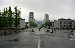 Kaesong, North Korea, April/May 2004. Streetscene in Kaesong, a town 100 km south of Pyongyang, close to the Demilitarized Zone. (Photo by Teun Voeten) *** Please Use Credit from Credit Field ***
