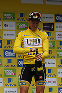 Edvald Boasson Hagen opens the champagne after winning the Aviva Tour of Britain, Regent Street, London, United Kingdom on 13 September 2015. Photo by Ellie Hoad.