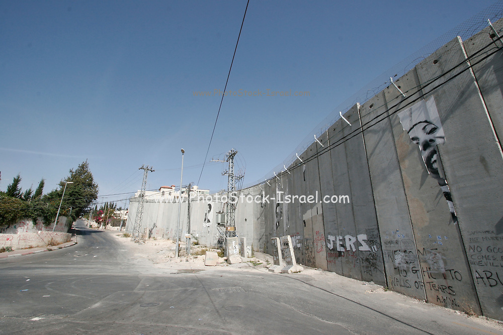 Israel, Jerusalem, Abu Dis, The Separation Wall built by the Israelis to separate between the Israeli and the Palestinian populations
