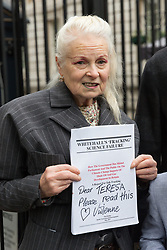 © Licensed to London News Pictures. 26/10/2017. LONDON, UK.   Vivienne Westwood outside Downing Street where she was refused access to deliver a letter to the Prime Minister. Oliver wrote about Swiss Petrochemical Giant Ineos seeking an Injunction to prevent any protest from the villagers of Marsh Lane, Derbyshire, where he lives.  Photo credit: Vickie Flores/LNP