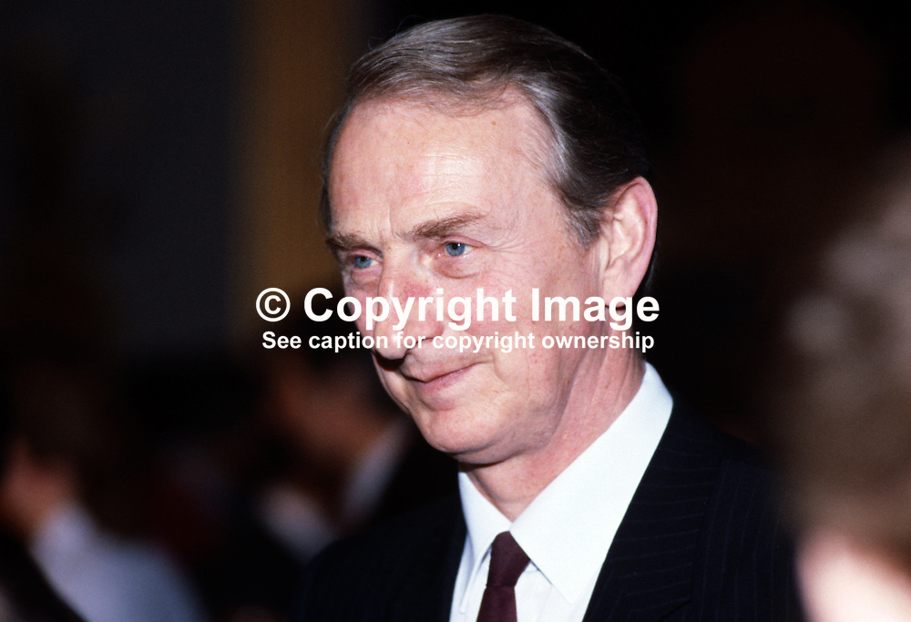 John Parkes, permanent secretary, Dept of Education, N Ireland, UK, 1985010010JP.<br /> <br /> Copyright Image from Victor Patterson, Belfast, UK<br /> <br /> t: +44 28 9066 1296 (from Rep of Ireland 048 9066 1296)<br /> m: +44 7802 353836<br /> e: victorpattersonbelfast@gmail.com<br /> <br /> www.images4media.com<br /> <br /> Please see my full Terms and Conditions of Use at https://www.images4media.com/p/terms-conditions - it is IMPORTANT that you familiarise yourself with them.<br /> <br /> Images used online incur an additional cost. This cost should be agreed in writing in advance. Online images must be visibly watermarked i.e. © Victor Patterson or that of the named photographer within the body of the image. The original metadata must not be deleted from images used online.<br /> <br /> This image is only available for the use of the download recipient i.e. television station, newspaper, magazine, book publisher, etc, and must not be passed on to a third party. It is also downloaded on condition that each and every usage is notified within 7 days to victorpattersonbelfast@gmail.com.<br /> <br /> The right of Victor Patterson (or the named photographer) to be identified as the author is asserted in accordance with The Copyright Designs And Patents Act (1988). All moral rights are asserted.