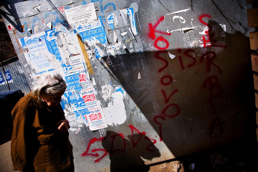 """Kosovo is Serbia"" graffiti in Serb section of Kosovska Mitrovica, Kosovo, Serbia."