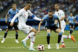 (l-r) Cristiano Ronaldo of Portugal, Diego Laxalt of Uruguay during the 2018 FIFA World Cup Russia round of 16 match between Uruguay and at the Fisht Stadium on June 30, 2018 in Sochi, Russia