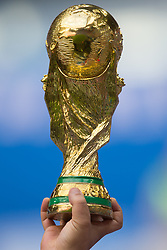 June 15, 2018 - Saint Petersburg, Russia - A replica of the World Cup Trophy is seen during the 2018 FIFA World Cup Russia group B match between Morocco and Iran at Saint Petersburg Stadium on June 15, 2018 in Saint Petersburg, Russia. (Credit Image: © Foto Olimpik/NurPhoto via ZUMA Press)