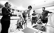 Alpine skier Morgan Megarry goes through a critical power test at the Canadian Sport Institute Calgary sport performance lab in Calgary, Alberta on May 14, 2015.