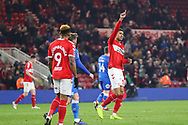 Middlesbrough forward Ashley Fletcher (18) celebrates after scoring his team's fifth goal during the The FA Cup 3rd round match between Middlesbrough and Peterborough United at the Riverside Stadium, Middlesbrough, England on 5 January 2019.