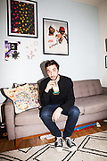 Ryan Glick, founder of Coffee 'n Clothes inside his apartment, 2017.
