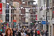 Nederland, Nijmegen, 17-6-2020  Voor het eerst sinds de oorlog wordt er geen 4 daagse gehouden dit jaar . Alleen in 2006 werd deze na een dag afgelast vanwege de hitte . Nu is de afgelasting het gevolg van de coronadreiging . De stichting vierdaagsefeesten brengt toch  een feestelijk tintje in de stad aan door boven de winkelstraten vierdaagsevlaggetjes te hangen. Ook de terrassen krijgen deze linten zodat ze hun terrasje kunnen opvrolijken. Sommige horecazaken hebben dat al gedaan . De grote vierdaagsevlag hangt ook uit bij diegene die deze hebben . De kastanjeboom voor het gemeentehuis is volgens traditie volgehangen met gladiolen .  Veel ondernemers, winkels en horeca, in het stadscentrum lijden grote verliezen door het wegvallen van de feesten . De vierdaagsefeesten zijn het grootste meerdaagse festival van het land . Foto: ANP/ Hollandse Hoogte/ Flip Franssen