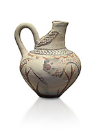 Cycladic cut away jug with floral and net pattern.   Cycladic (1650-1450 BC) , Phylakopi III, Melos. National Archaeological Museum Athens. Cat no 5757<br /> <br /> This jug has a strainer in the spout with floral patterns. Ceramic shapes and painted style are heavily influenced by Minoan styles during this period. Dark floral and spiral patterns are painted over a lighted backgound with wavy bands. .<br /> <br /> If you prefer to buy from our ALAMY PHOTO LIBRARY  Collection visit : https://www.alamy.com/portfolio/paul-williams-funkystock/cycladic-art-artefacts.html Type into the LOWER SEARCH WITHIN GALLERY box to refine search by adding background colour, place, museum etc<br /> <br /> Visit our CYCLADIC CIVILISATIONS PHOTO COLLECTIONS for more photos to download or buy as wall art prints https://funkystock.photoshelter.com/gallery-collection/Cycladic-civilisation-Ancient-Greek-Artefacts-art-Photos-Pictures-Images/C0000CmevVvnC.XU