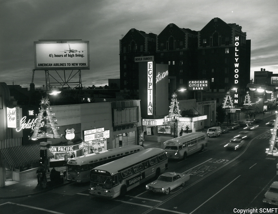 1966 Looking west on Hollywood Blvd. from Las Palmas Ave. during Christmastime