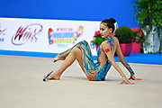 Zhang Doudou during qualifying at clubs in Pesaro World Cup at Adriatic Arena on 11 April 2015. Doudou was born on July 23, 1996 in Taiyuan. She is a Chinese individual rhythmic gymnast.