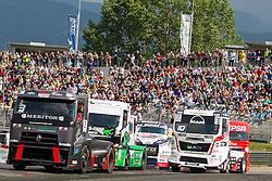 06.07.2013, Red Bull Ring, Spielberg, AUT, Truck Race Trophy, Renntag 1, im Bild Adam Lacko, (CZE, MKR Technology, #3, 1. Platz), Norbert Kiss, (HUN, Oxxo Energy Truck Race Team, #10, 2. Platz), Mika Maekinen, (FIN, Mika Maekinen, #7, 3. Platz), David Vrsecky, (CZE, Buggyra International Racing Team, #33) // during the Truck Race Trophy 2013 at the Red Bull Ring in Spielberg, Austria, 2013/07/06, EXPA Pictures © 2013, PhotoCredit: EXPA/ M.Kuhnke