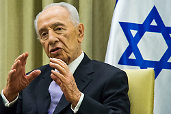 SHIMON PERES (2 August 1923 - 28 September 2016) was a Polish-born Israeli statesman. Born Szymon Perski, he was the ninth President of Israel from 2007 to 2014, served twice as the Prime Minister of Israel and twice as Interim Prime Minister, and he was a member of 12 cabinets in a political career spanning over 66 years. Peres won the 1994 Nobel Peace Prize together with Yitzhak Rabin and Yasser Arafat for the peace talks that he participated in as Israeli Foreign Minister, producing the Oslo Accords. PICTURED: May 09, 2013 - Jerusalem, Israel - President SHIMON PERES makes remarks to Finance Minister Lapid following a work meeting in which Lapid presented his budget proposal for 2013-14. (Credit Image: © Nir Alon/ZUMAPRESS.com)