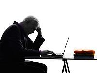 One Caucasian Senior Business Man computing laptop Silhouette White Background
