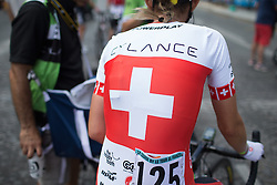 Doris Schweizer (SUI) of Cylance Pro Cycling contemplates the last minutes of the La Course, a 89 km road race in Paris on July 24, 2016 in France.